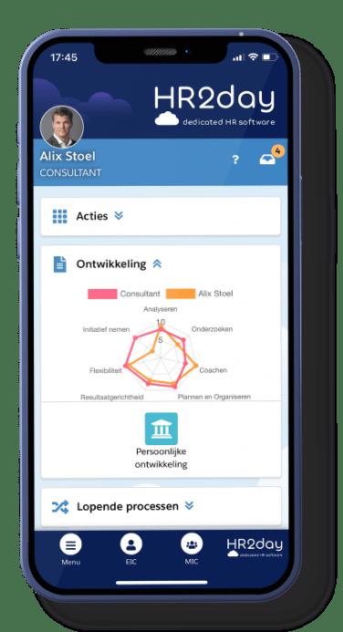 HR2day mobile app mockup